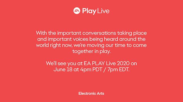 <h2 class='entry-title'>L' EA Play Live è stato posticipato al 18 giugno.</h2><h4 class='entry-subtitle'><span style='color:#808080;font-size:14px;'>Ciò è dovuto alla situazione che sta accadendo negli USA.</span></h4>