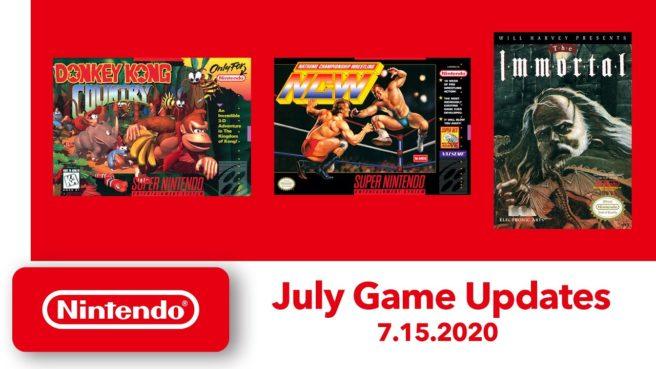 <h2 class='entry-title'>Nintendo Switch Online – Annunciati tre titoli per i cataloghi NES e SNES.</h2><h4 class='entry-subtitle'><span style='color:#808080;font-size:14px;'>Donkey Kong Country, Natsume Championship Wrestling e The Immortal saranno giocabili dal 15 luglio.</span></h4>